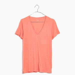 Madewell Whisper Cotton V-Neck Tee Dried Coral